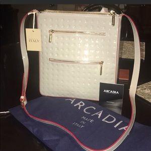 Arcadia crossbody grey/red leather handbag. NEW